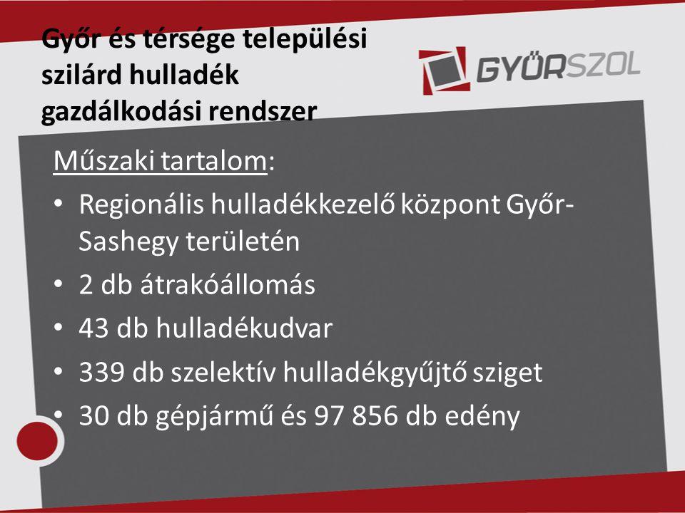 Győr és térsége települési szilárd hulladék gazdálkodási rendszer Műszaki tartalom: Regionális hulladékkezelő központ Győr- Sashegy területén 2 db átr