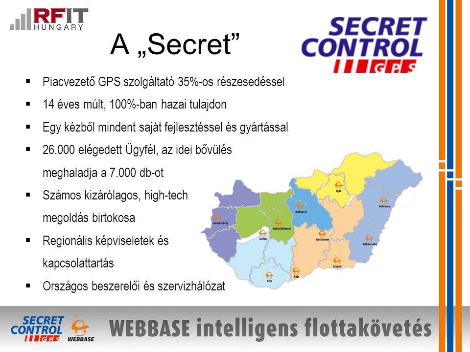 """A """"Secret  Piacvezető GPS szolgáltató 35%-os részesedéssel  14 éves múlt, 100%-ban hazai tulajdon  Egy kézből mindent saját fejlesztéssel és gyártással  26.000 elégedett Ügyfél, az idei bővülés meghaladja a 7.000 db-ot  Számos kizárólagos, high-tech megoldás birtokosa  Regionális képviseletek és kapcsolattartás  Országos beszerelői és szervizhálózat"""