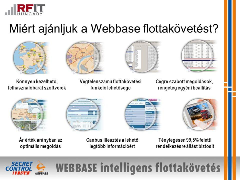 Cégre szabott megoldások, rengeteg egyéni beállítás Ár érték arányban az optimális megoldás Végtelenszámú flottakövetési funkció lehetősége Könnyen kezelhető, felhasználóbarát szoftverek Canbus illesztés a lehető legtöbb információért Ténylegesen 99,5% feletti rendelkezésre állást biztosít Miért ajánljuk a Webbase flottakövetést?