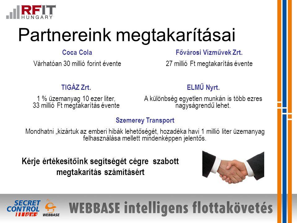 Partnereink megtakarításai Fővárosi Vízművek Zrt.27 millió Ft megtakarítás évente TIGÁZ Zrt.