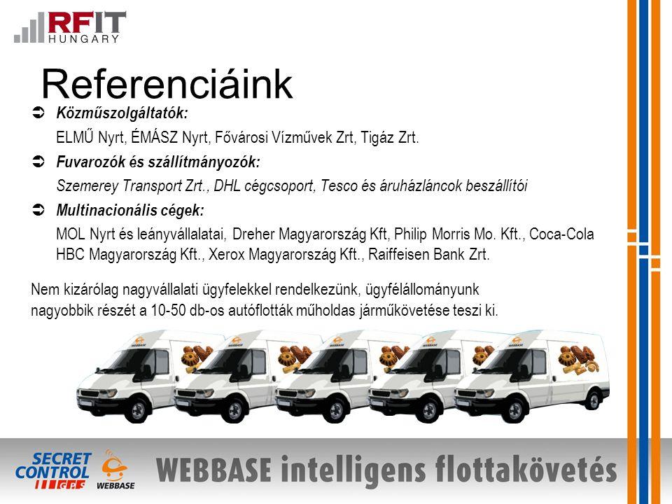 Referenciáink  Közműszolgáltatók: ELMŰ Nyrt, ÉMÁSZ Nyrt, Fővárosi Vízművek Zrt, Tigáz Zrt.