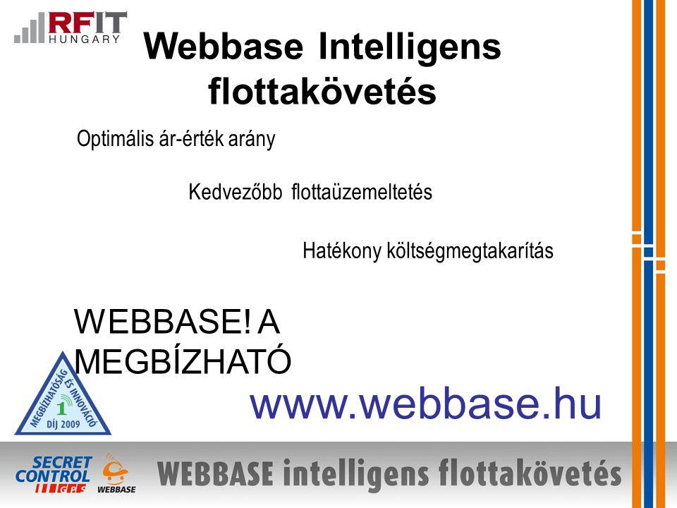 Webbase Intelligens flottakövetés Kedvezőbb flottaüzemeltetés Hatékony költségmegtakarítás www.webbase.hu Optimális ár-érték arány WEBBASE.
