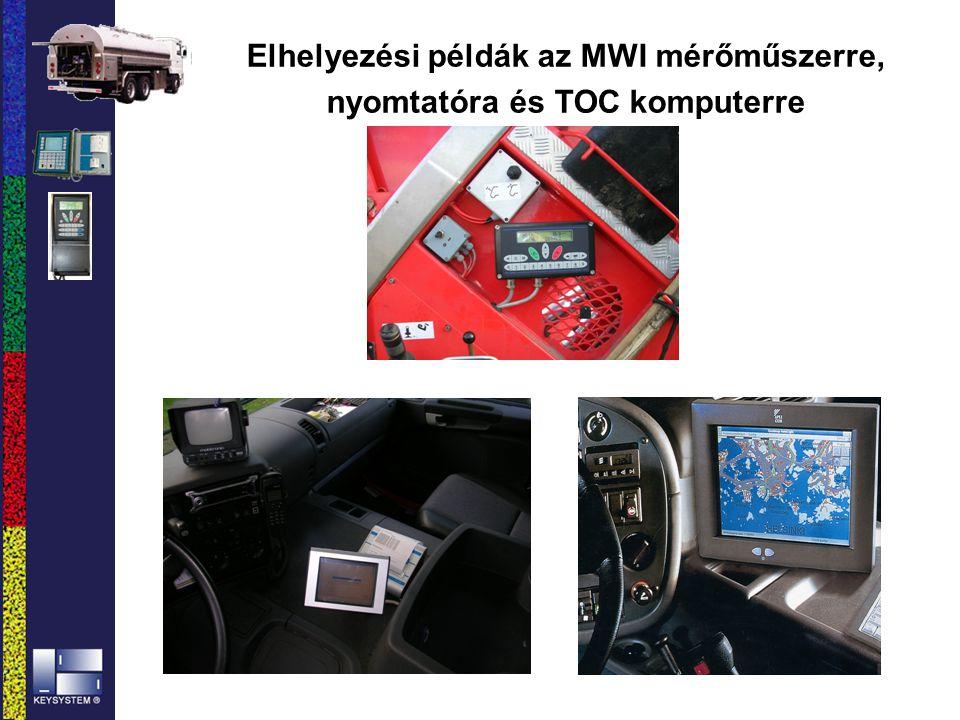 Elhelyezési példák az MWI mérőműszerre, nyomtatóra és TOC komputerre