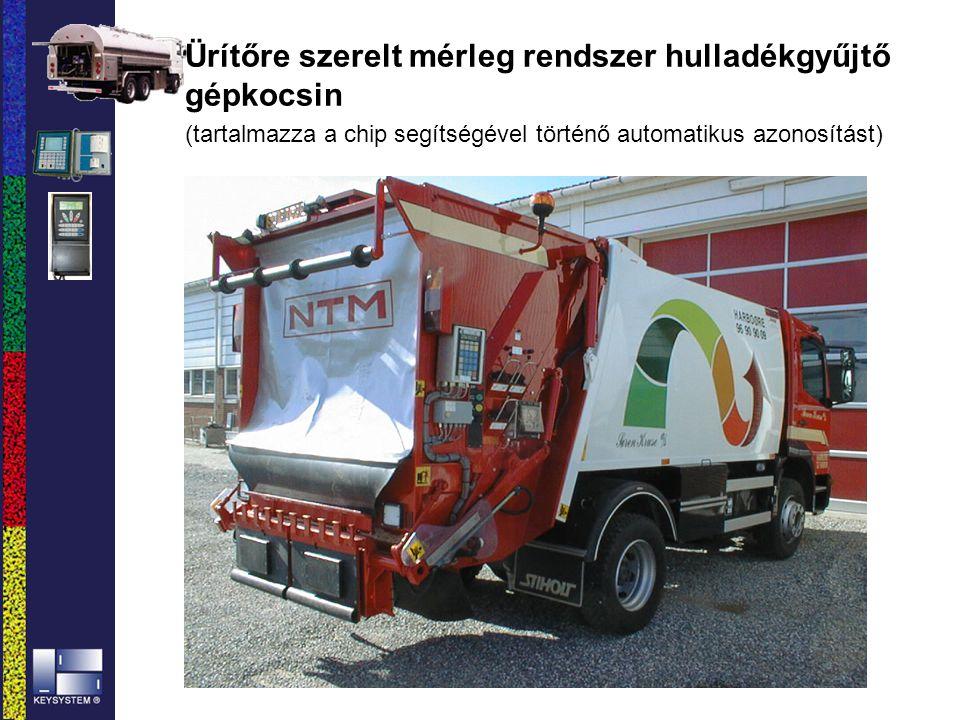 Ürítőre szerelt mérleg rendszer hulladékgyűjtő gépkocsin (tartalmazza a chip segítségével történő automatikus azonosítást)