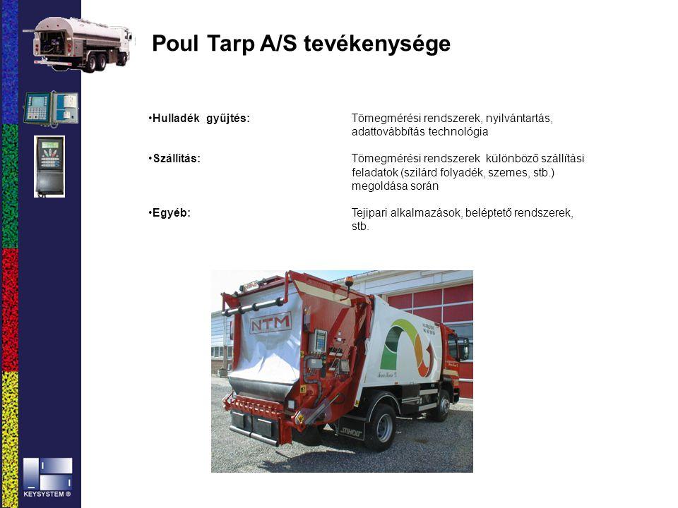 Poul Tarp A/S tevékenysége Hulladék gyűjtés: Tömegmérési rendszerek, nyilvántartás, adattovábbítás technológia Szállítás: Tömegmérési rendszerek külön