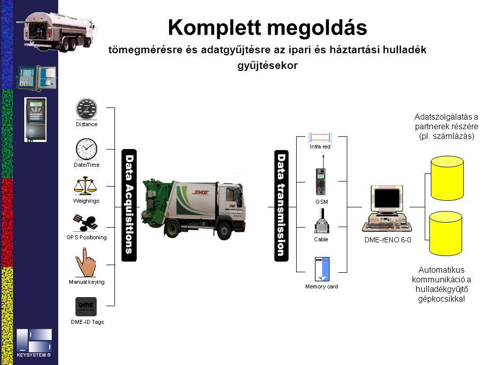 Komplett megoldás tömegmérésre és adatgyűjtésre az ipari és háztartási hulladék gyűjtésekor Adatszolgálatás a partnerek részére (pl. számlázás) Automa