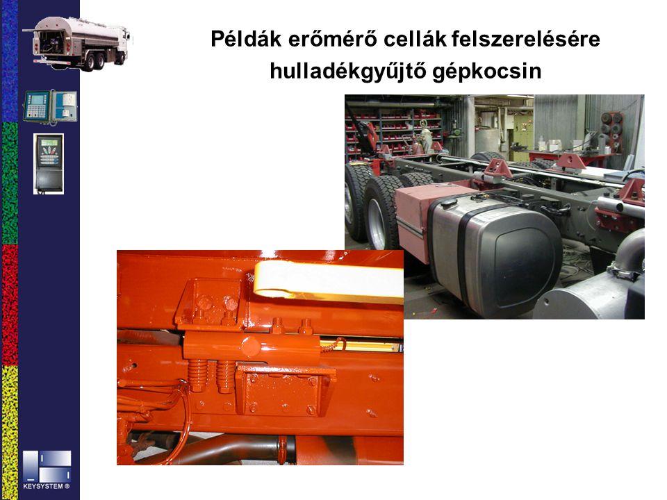 Példák erőmérő cellák felszerelésére hulladékgyűjtő gépkocsin