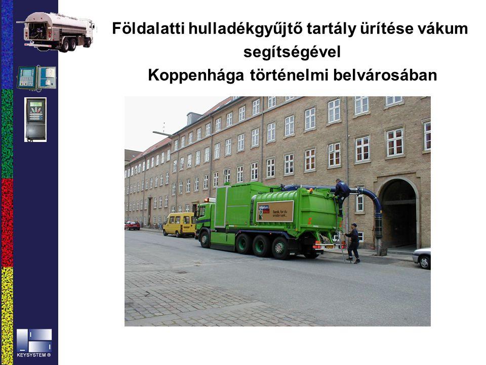 Földalatti hulladékgyűjtő tartály ürítése vákum segítségével Koppenhága történelmi belvárosában