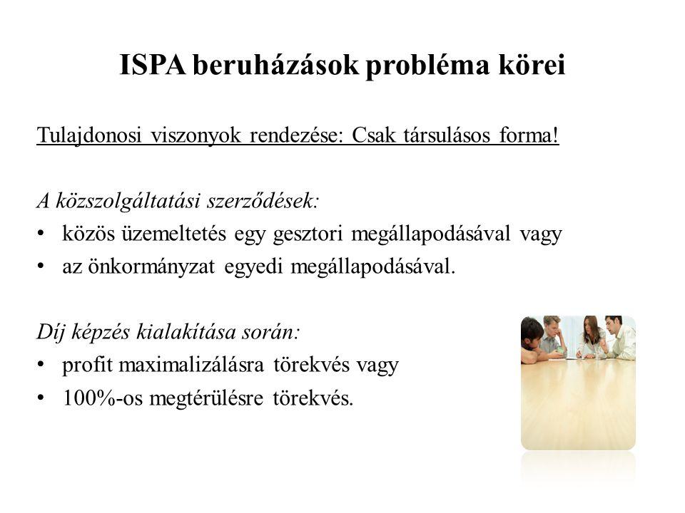 ISPA beruházások probléma körei Tulajdonosi viszonyok rendezése: Csak társulásos forma.