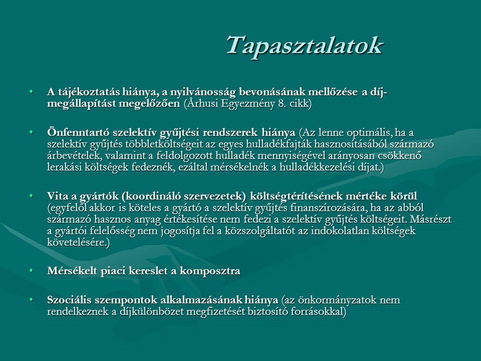 Tapasztalatok A tájékoztatás hiánya, a nyilvánosság bevonásának mellőzése a díj- megállapítást megelőzően (Århusi Egyezmény 8.