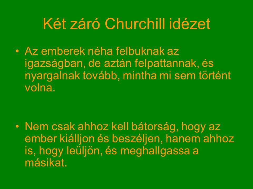 Két záró Churchill idézet Az emberek néha felbuknak az igazságban, de aztán felpattannak, és nyargalnak tovább, mintha mi sem történt volna.