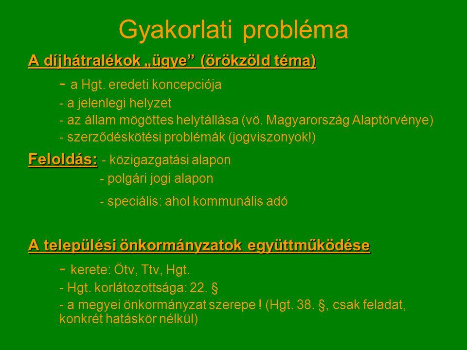 """Gyakorlati probléma A díjhátralékok """"ügye (örökzöld téma) - a Hgt."""