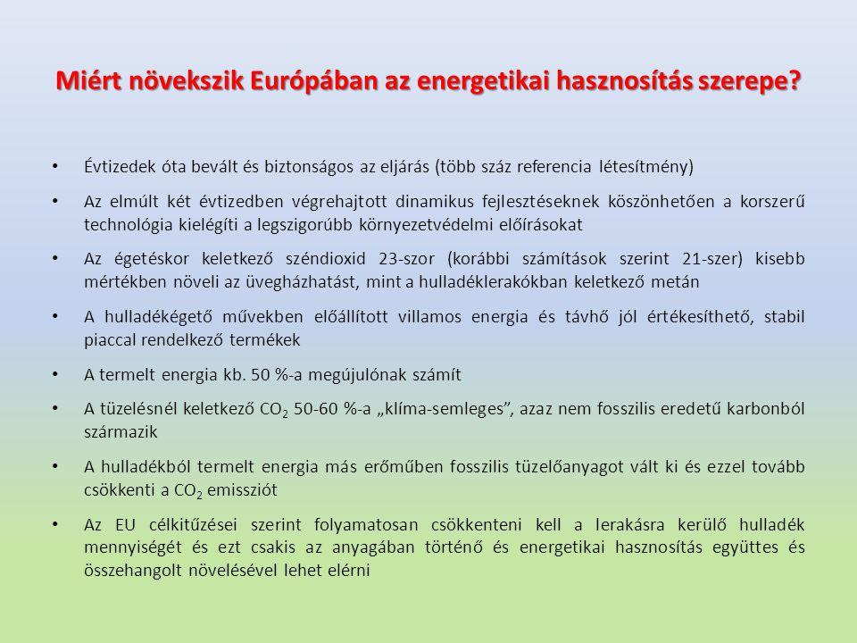 Miért növekszik Európában az energetikai hasznosítás szerepe? Évtizedek óta bevált és biztonságos az eljárás (több száz referencia létesítmény) Az elm