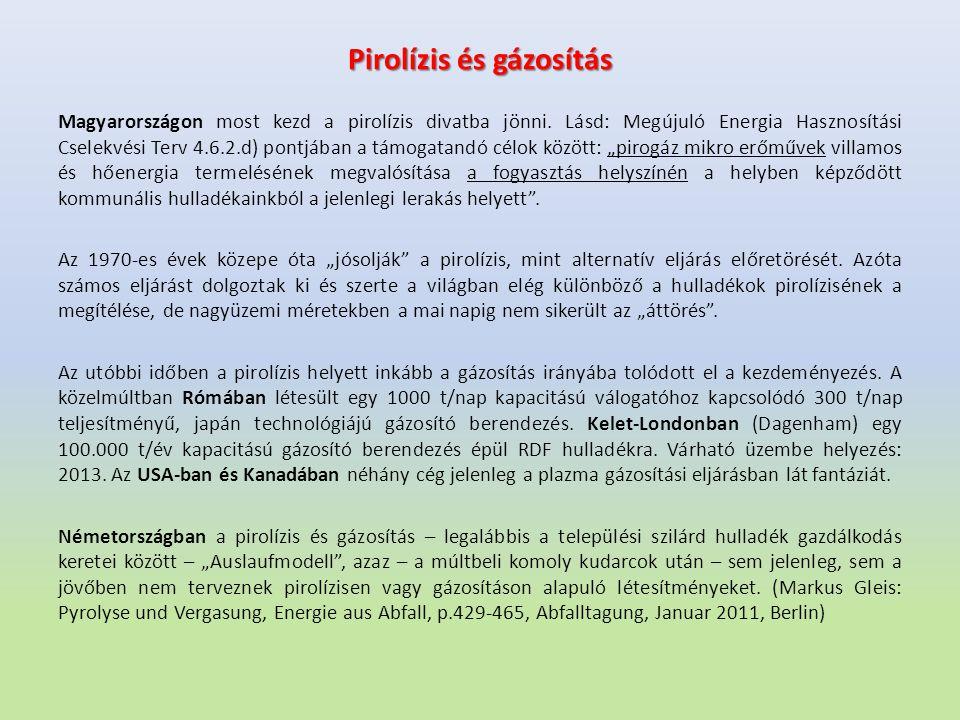 Pirolízis és gázosítás Magyarországon most kezd a pirolízis divatba jönni. Lásd: Megújuló Energia Hasznosítási Cselekvési Terv 4.6.2.d) pontjában a tá