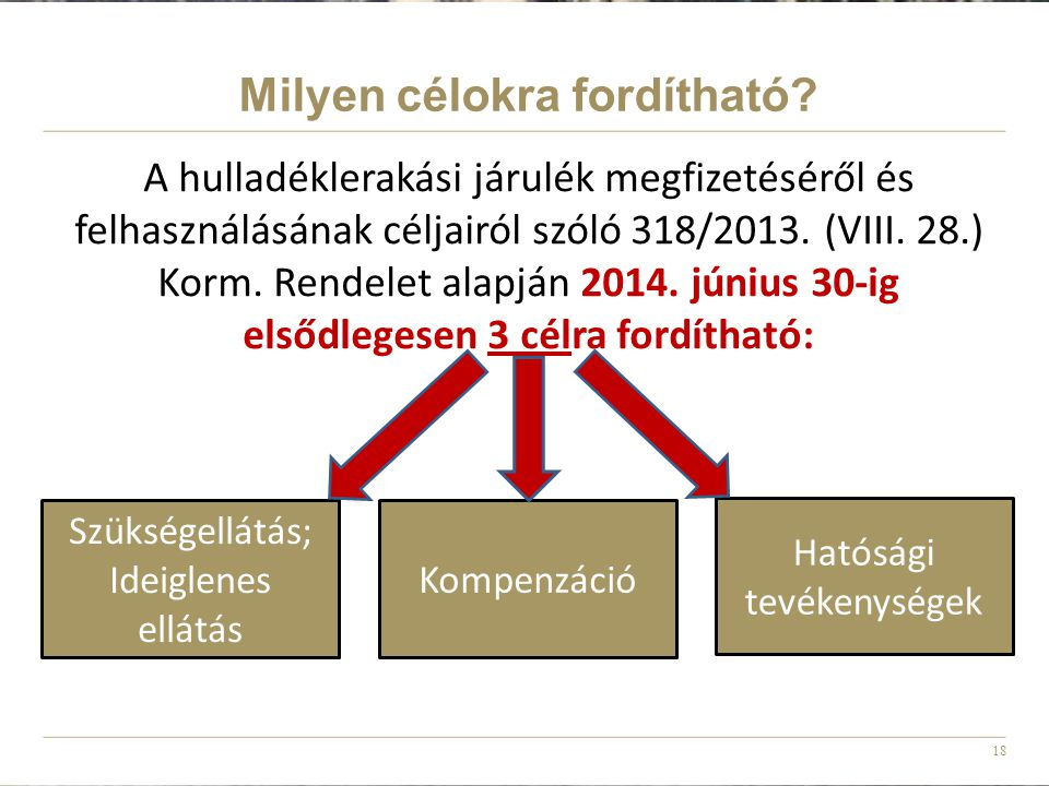 18 A hulladéklerakási járulék megfizetéséről és felhasználásának céljairól szóló 318/2013. (VIII. 28.) Korm. Rendelet alapján 2014. június 30-ig elsőd