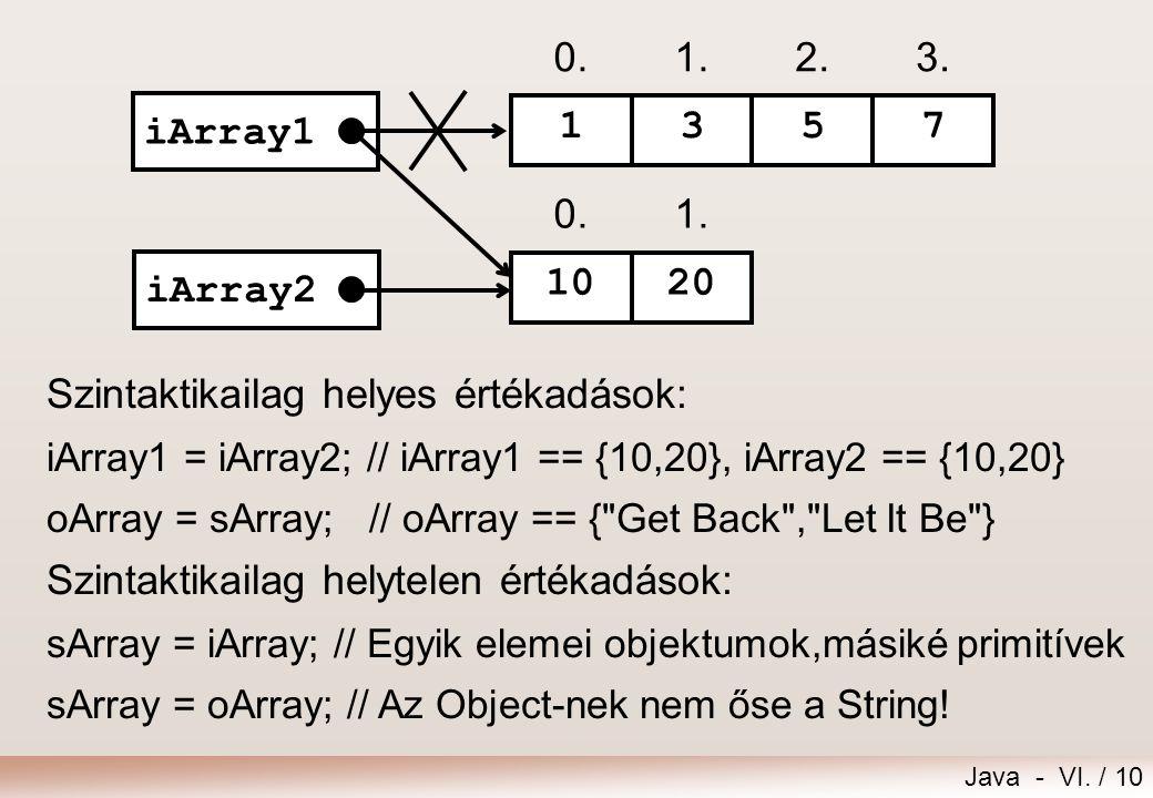 Java - VI. / 10 Szintaktikailag helyes értékadások: iArray1 = iArray2; // iArray1 == {10,20}, iArray2 == {10,20} oArray = sArray; // oArray == {