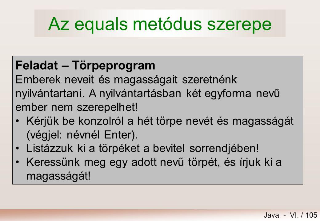 Java - VI. / 105 Feladat – Törpeprogram Emberek neveit és magasságait szeretnénk nyilvántartani. A nyilvántartásban két egyforma nevű ember nem szerep