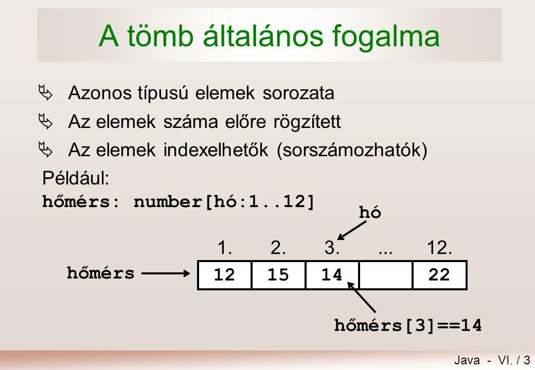 Java - VI. / 3 A tömb általános fogalma  Azonos típusú elemek sorozata  Az elemek száma előre rögzített  Az elemek indexelhetők (sorszámozhatók) 1.