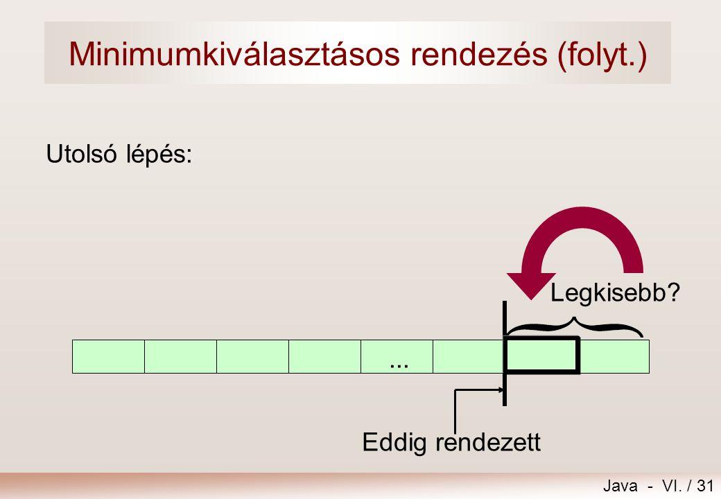 Java - VI. / 31 Utolsó lépés: Legkisebb? Eddig rendezett... Minimumkiválasztásos rendezés (folyt.)