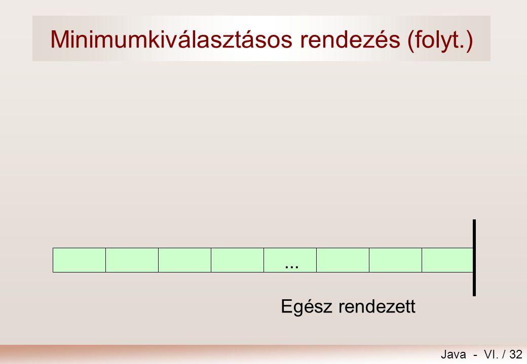 Java - VI. / 32... Egész rendezett Minimumkiválasztásos rendezés (folyt.)
