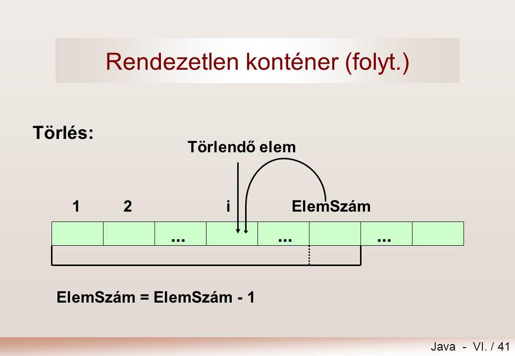 Java - VI. / 41 Törlés:... 12ElemSzámi... ElemSzám = ElemSzám - 1 Rendezetlen konténer (folyt.) Törlendő elem