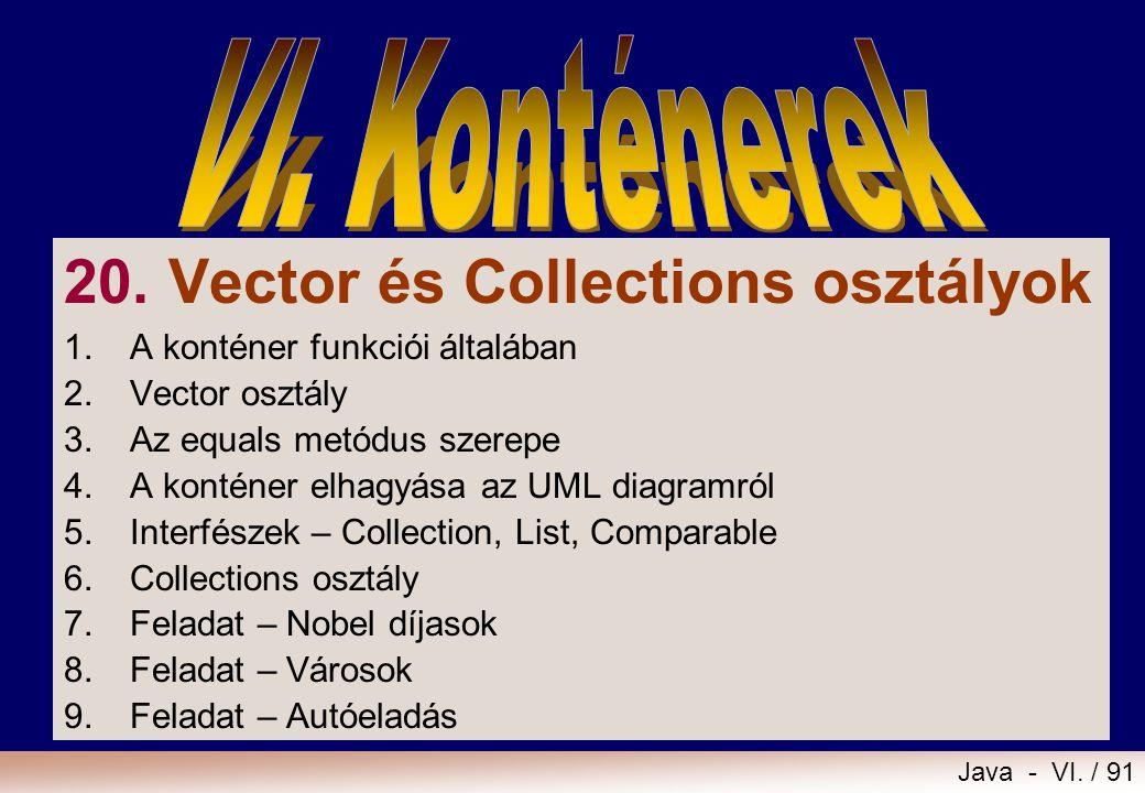 Java - VI. / 91 20. Vector és Collections osztályok 1.A konténer funkciói általában 2.Vector osztály 3.Az equals metódus szerepe 4. A konténer elhagyá