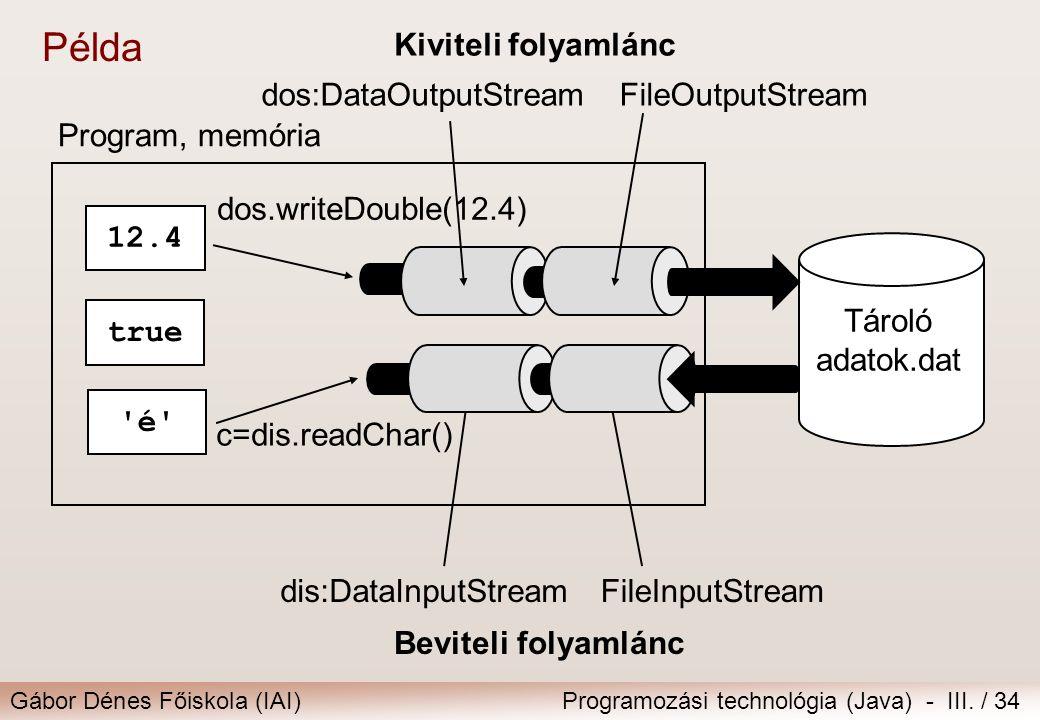 Gábor Dénes Főiskola (IAI)Programozási technológia (Java) - III. / 34 Beviteli folyamlánc Kiviteli folyamlánc Tároló adatok.dat Program, memória FileO