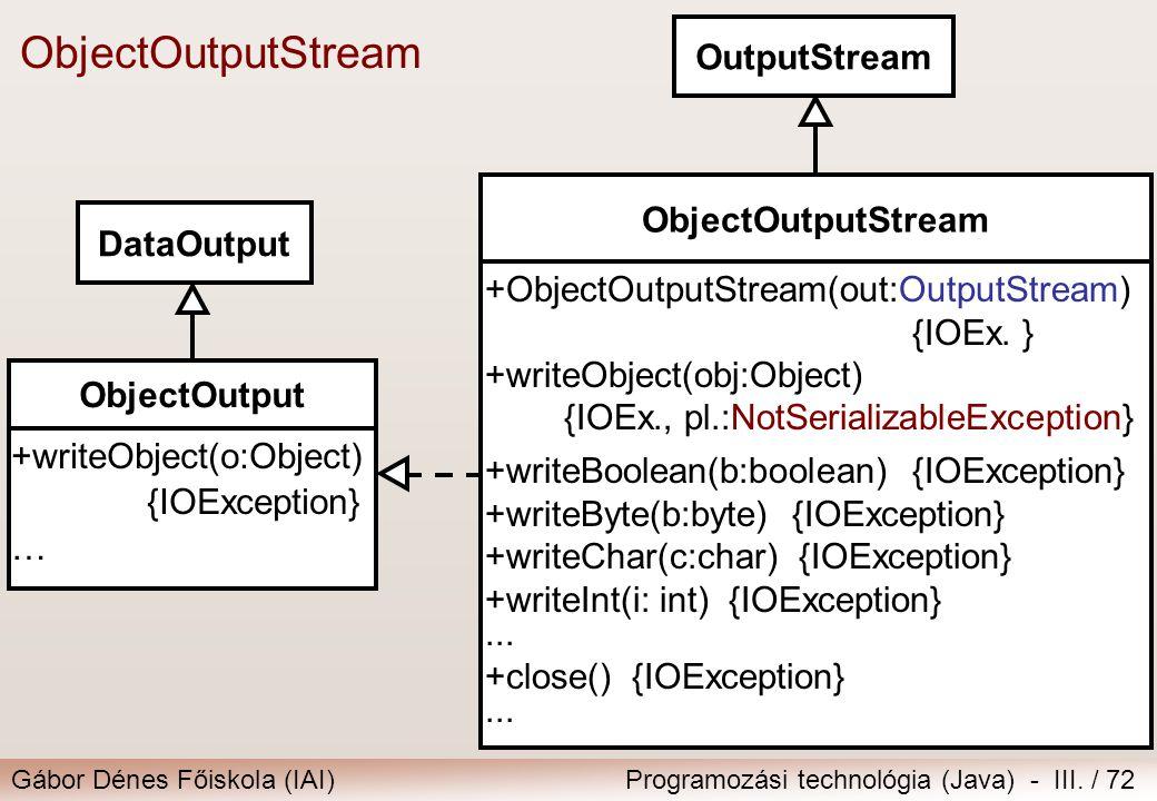 Gábor Dénes Főiskola (IAI)Programozási technológia (Java) - III. / 72 ObjectOutputStream OutputStream ObjectOutputStream +ObjectOutputStream(out:Outpu