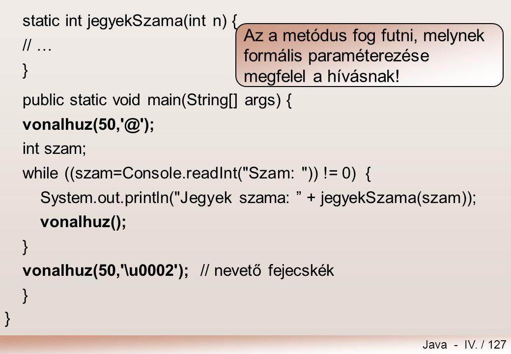Java - IV. / 126 import extra.*; public class MetodusMinta2 { static void vonalhuz() { vonalhuz(20,'-'); } static void vonalhuz(int hossz) { vonalhuz(