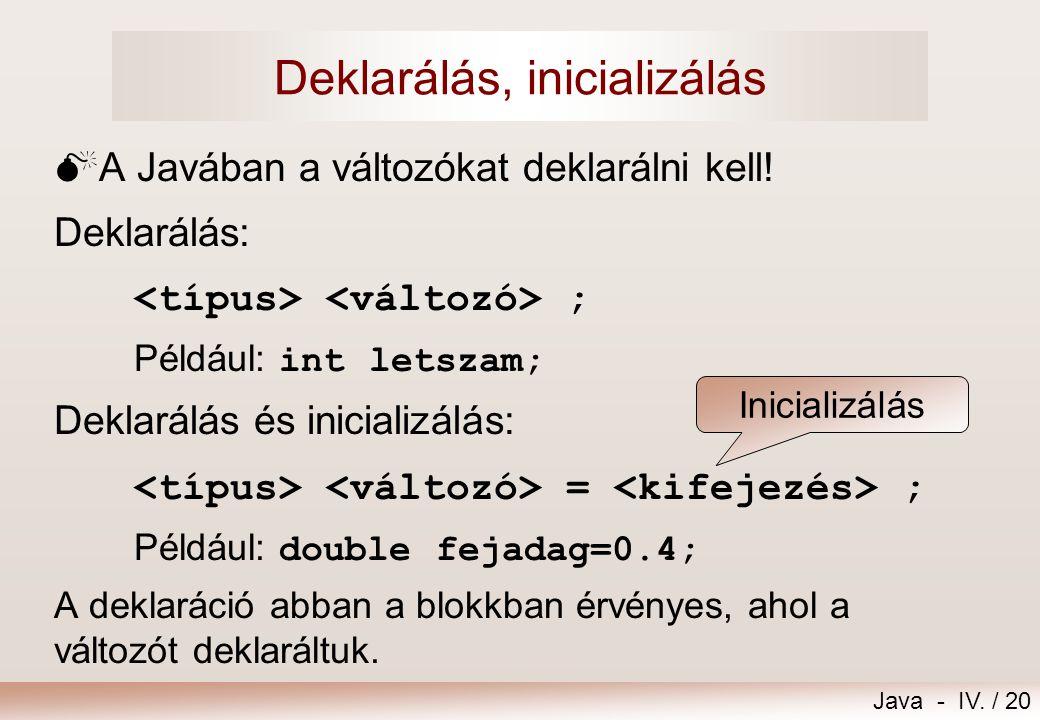 Java - IV. / 19 Mije van egy változónak?  Azonosítója (neve)  Helye a memóriában  Típusa értéktartomány: lehetséges értékek halmaza ábrázolás végez