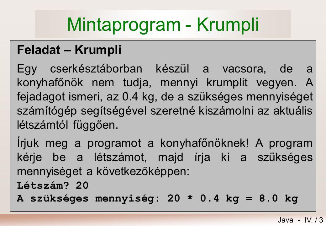Java - IV. / 2 11.Alapfogalmak 1.Mintaprogram - Krumpli 2.ASCII és unikód karakterek 3.A program alkotóelemei 4.Változó, típus 5.Primitív típusok 6.A
