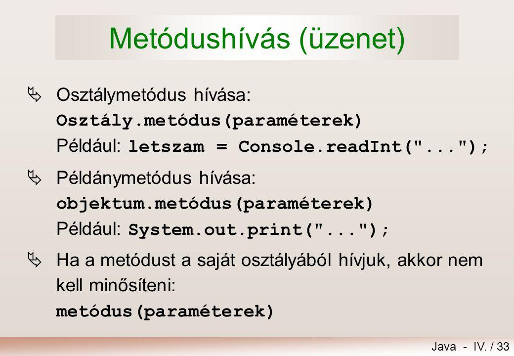 Java - IV. / 32 Futási hiba (kivétel) keletkezése