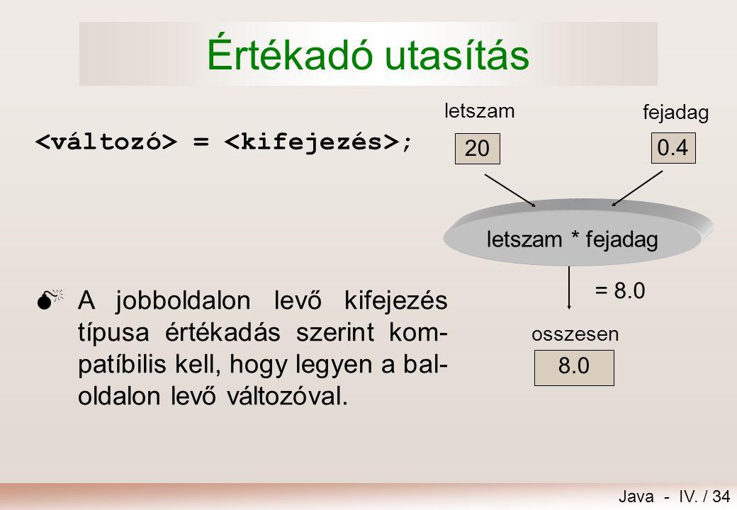 Java - IV. / 33 Metódushívás (üzenet)  Osztálymetódus hívása: Osztály.metódus(paraméterek) Például: letszam = Console.readInt(