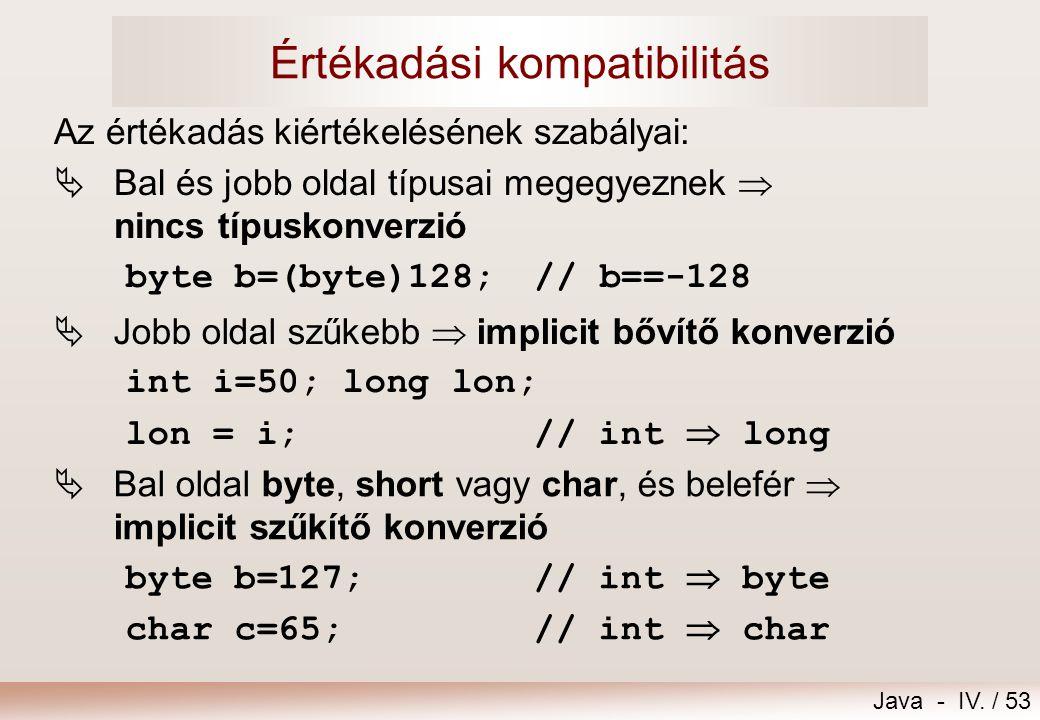 Java - IV. / 52 Értékadás =  precedenciája a legkisebb  visszaadja a jobb oldali kifejezés értékét Többszörös értékadás = =... = (jobb asszociativit