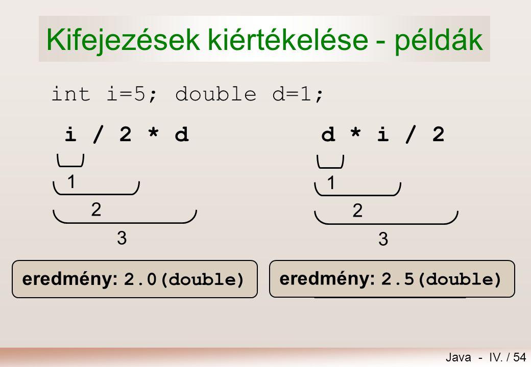 Java - IV. / 53 Értékadási kompatibilitás Az értékadás kiértékelésének szabályai:  Bal és jobb oldal típusai megegyeznek  nincs típuskonverzió byte