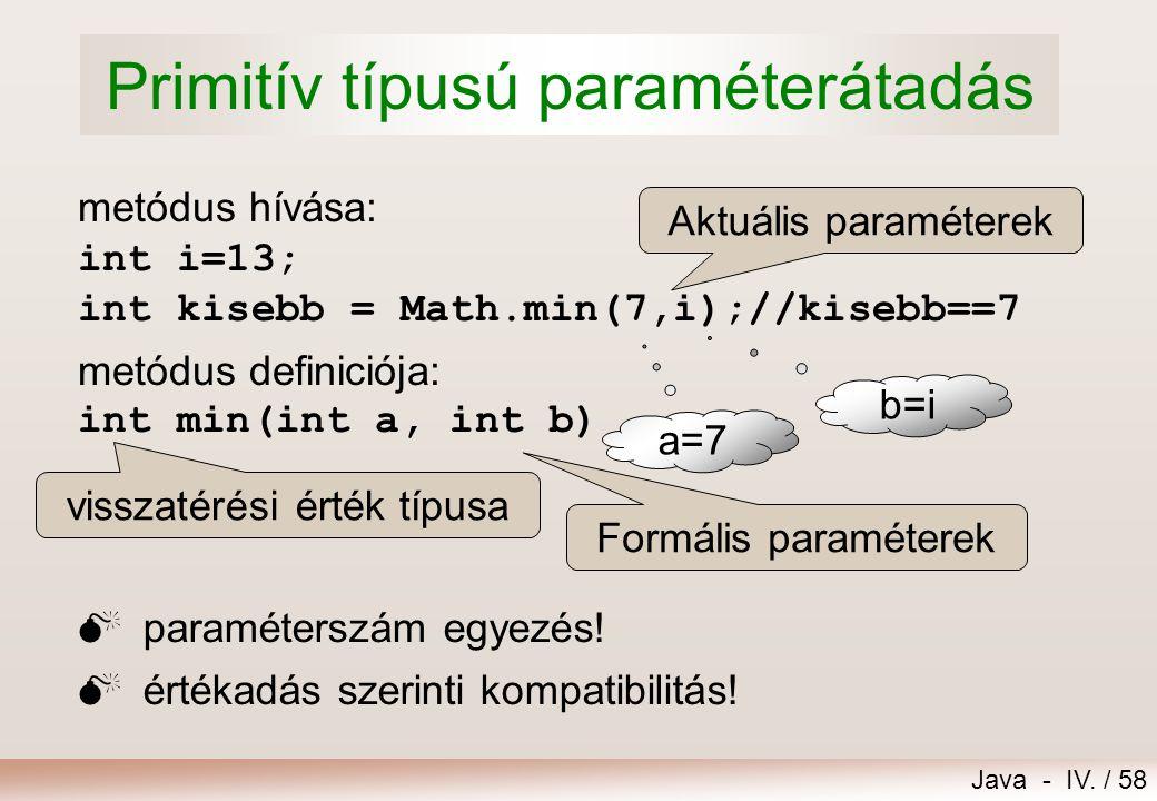 Java - IV. / 57 Feltétel tagadása DeMorgan azonosságok: !(a & b) == !a | !b !(a | b) == !a & !b Példa: Nem igaz az, hogy a és b közül legalább az egyi