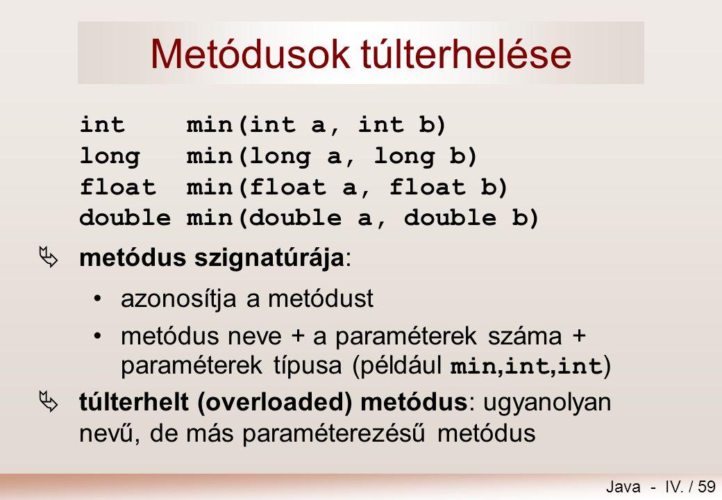 Java - IV. / 58 Primitív típusú paraméterátadás metódus hívása: int i=13; int kisebb = Math.min(7,i);//kisebb==7 metódus definiciója: int min(int a, i