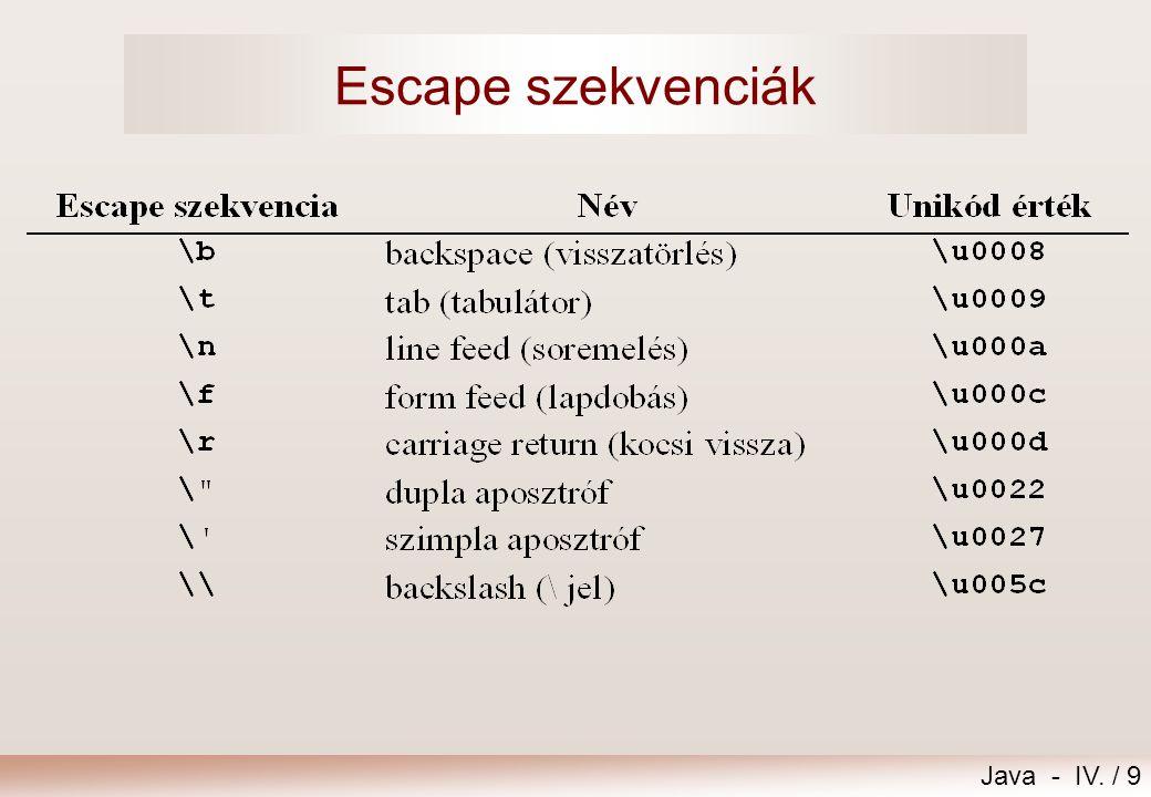 Java - IV. / 9 Escape szekvenciák