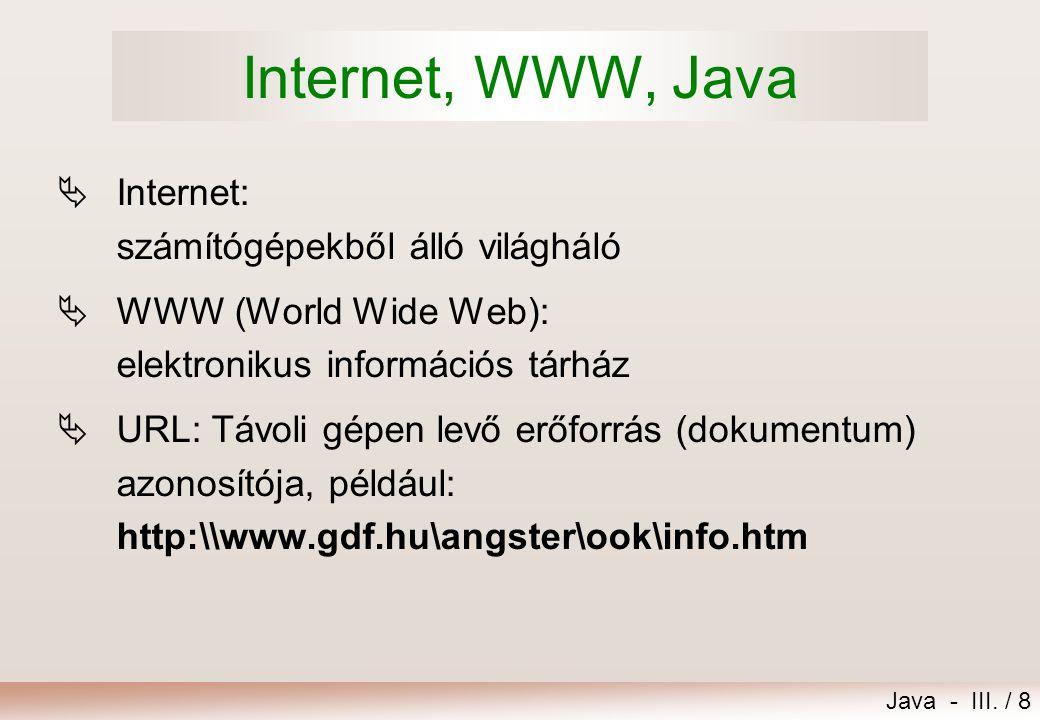 Java - III. / 9 Browser, hypertext, applet