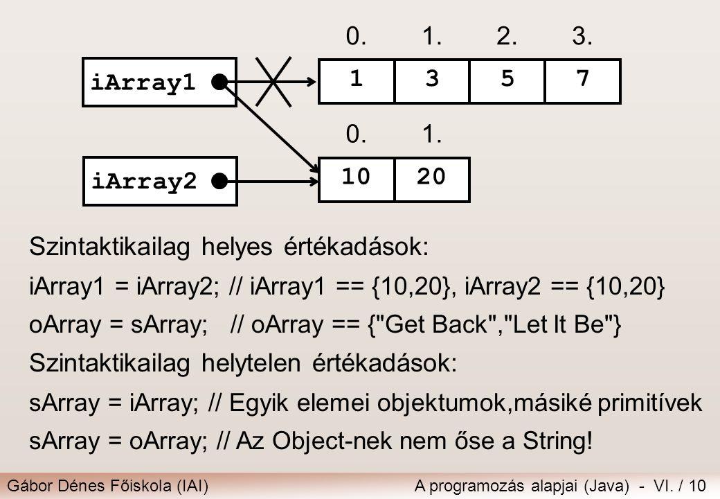 Gábor Dénes Főiskola (IAI)A programozás alapjai (Java) - VI. / 10 Szintaktikailag helyes értékadások: iArray1 = iArray2; // iArray1 == {10,20}, iArray