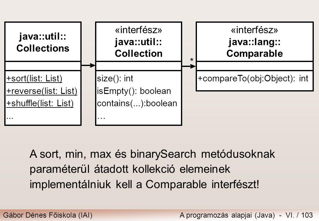 Gábor Dénes Főiskola (IAI)A programozás alapjai (Java) - VI. / 103 * java::util:: Collections +sort(list: List) +reverse(list: List) +shuffle(list: Li
