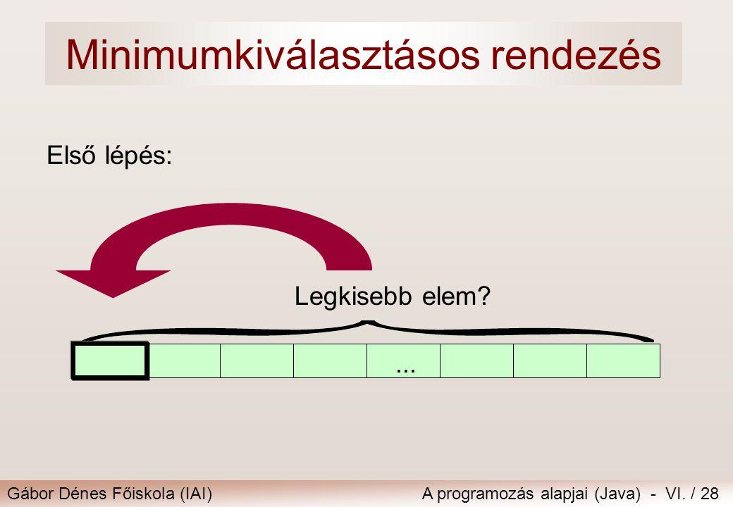 Gábor Dénes Főiskola (IAI)A programozás alapjai (Java) - VI. / 28... Első lépés: Legkisebb elem? Minimumkiválasztásos rendezés