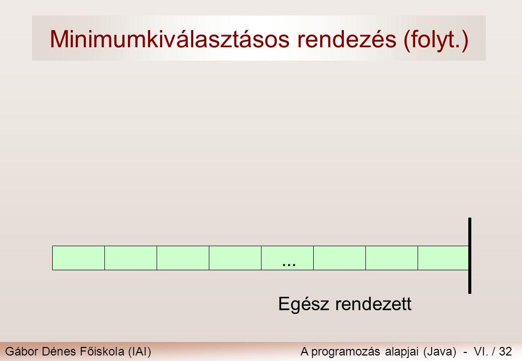 Gábor Dénes Főiskola (IAI)A programozás alapjai (Java) - VI. / 32... Egész rendezett Minimumkiválasztásos rendezés (folyt.)