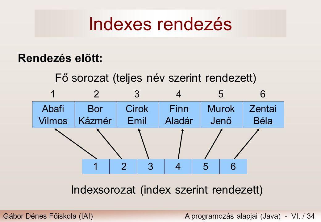 Gábor Dénes Főiskola (IAI)A programozás alapjai (Java) - VI. / 34 Indexsorozat (index szerint rendezett) 123456 Fő sorozat (teljes név szerint rendeze