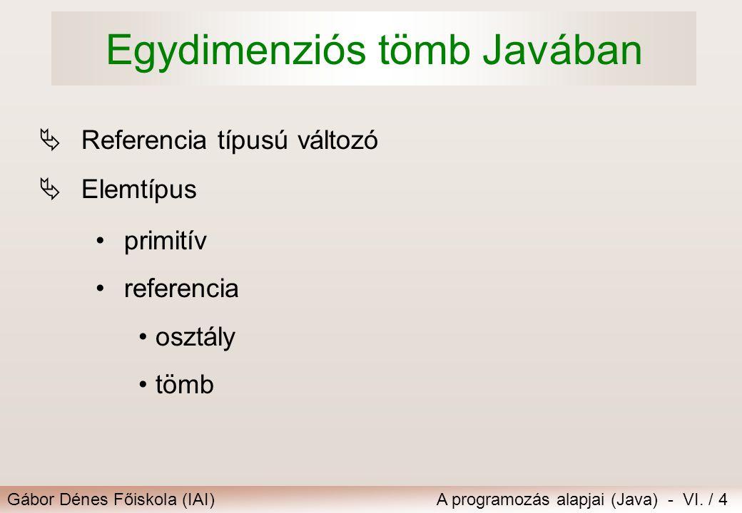 Gábor Dénes Főiskola (IAI)A programozás alapjai (Java) - VI. / 4 Egydimenziós tömb Javában  Referencia típusú változó  Elemtípus primitív referencia