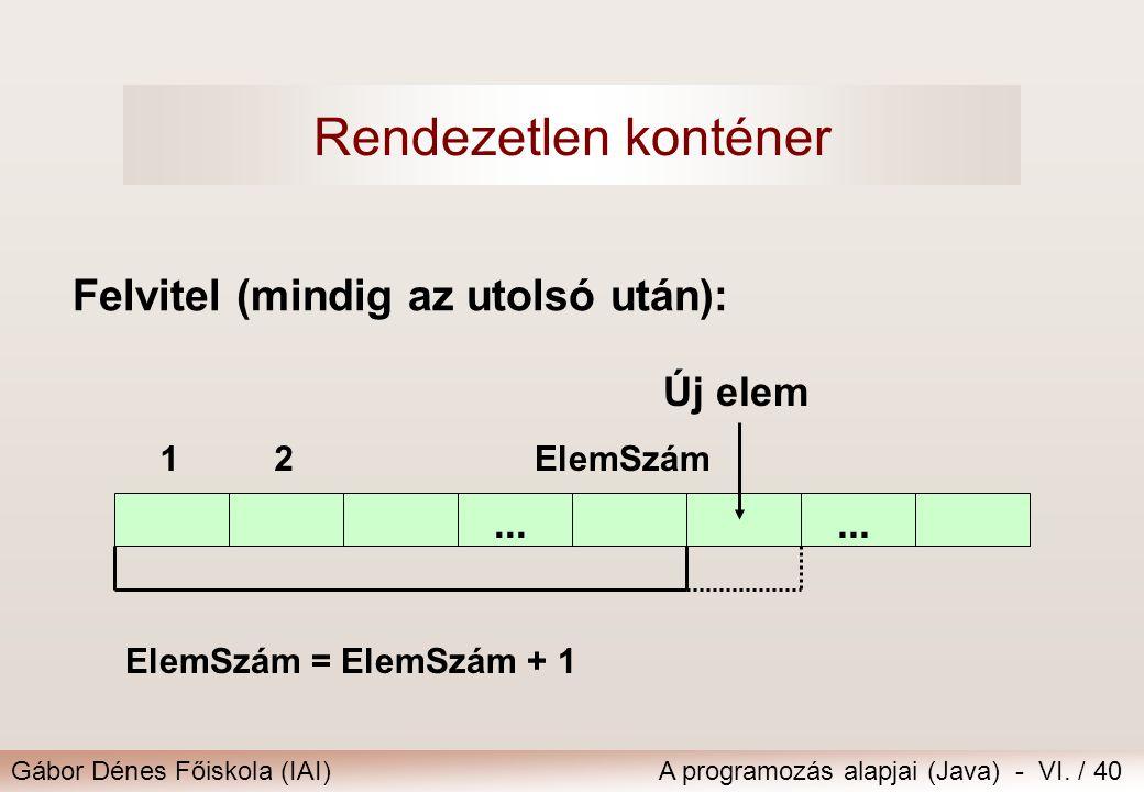Gábor Dénes Főiskola (IAI)A programozás alapjai (Java) - VI. / 40 Felvitel (mindig az utolsó után):... 12ElemSzám Új elem ElemSzám = ElemSzám + 1 Rend
