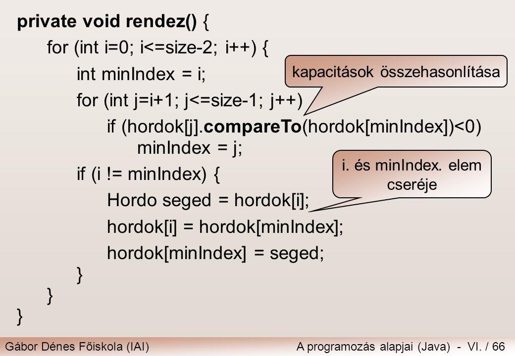 Gábor Dénes Főiskola (IAI)A programozás alapjai (Java) - VI. / 66 private void rendez() { for (int i=0; i<=size-2; i++) { int minIndex = i; for (int j