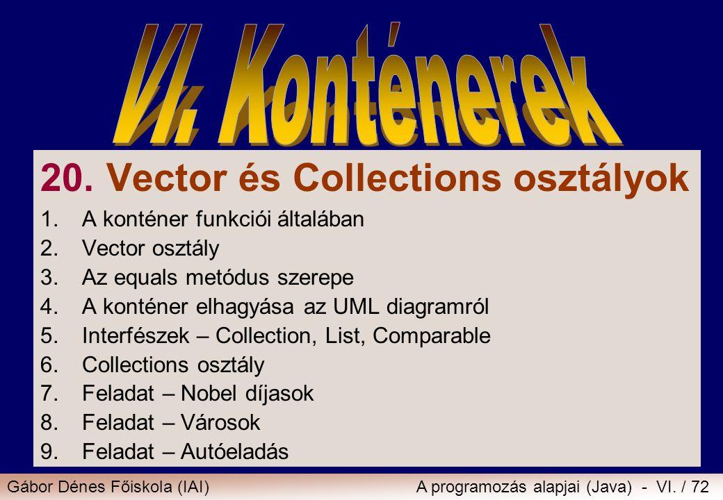 Gábor Dénes Főiskola (IAI)A programozás alapjai (Java) - VI. / 72 20. Vector és Collections osztályok 1.A konténer funkciói általában 2.Vector osztály
