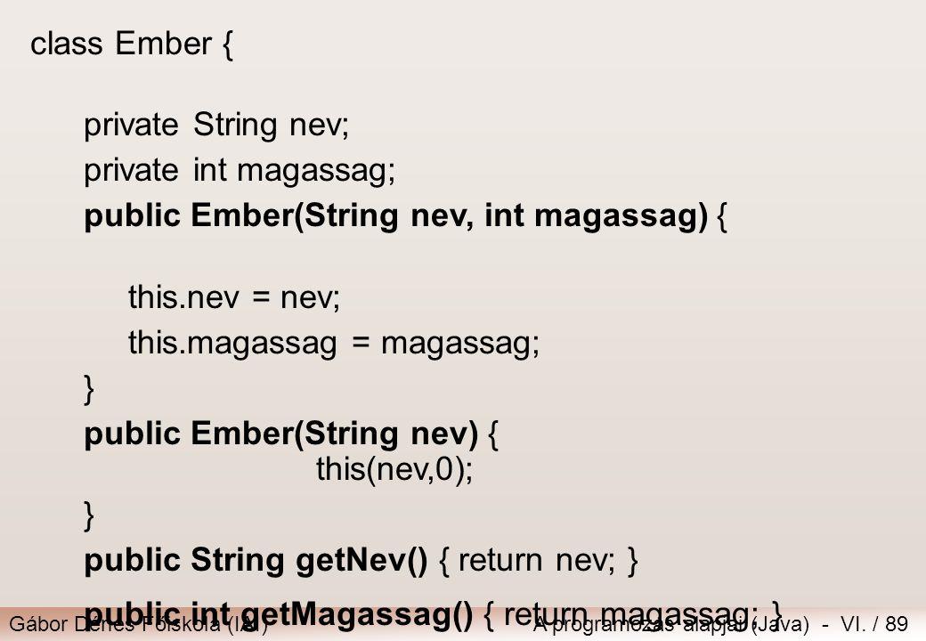 Gábor Dénes Főiskola (IAI)A programozás alapjai (Java) - VI. / 89 class Ember { private String nev; private int magassag; public Ember(String nev, int
