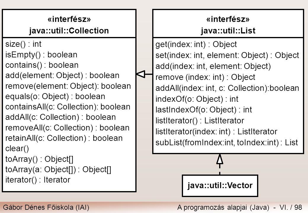 Gábor Dénes Főiskola (IAI)A programozás alapjai (Java) - VI. / 98 «interfész» java::util::Collection size() : int isEmpty() : boolean contains() : boo
